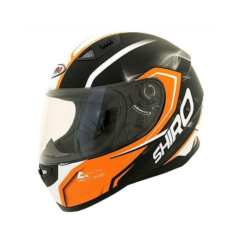 tama/ño M Motegi BLACK-ORANGE Shiro casco