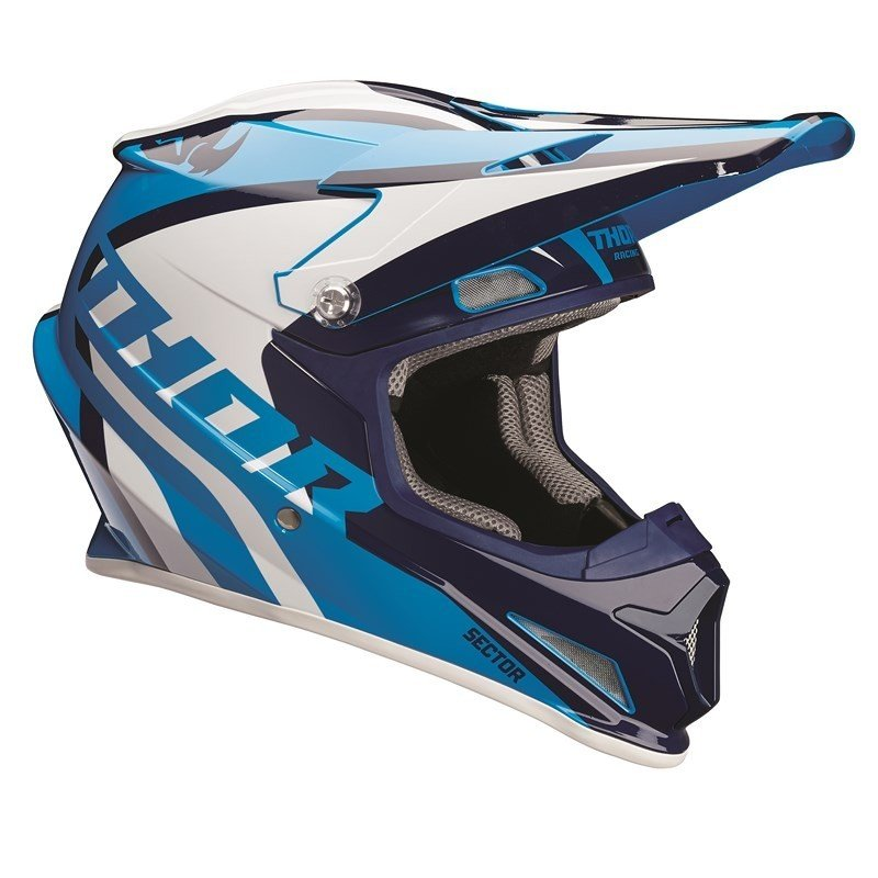Navy//Yellow THOR MX Motocross Kids 2018 SECTOR Ricochet Offroad Helmet