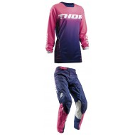 OUTLET COMBO MUJER THOR S8W PULSE DASHE OFFROAD AZUL/ROSA 2018