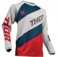 OFFER THOR YOUTH SECTOR SHEAR S9Y OFFROAD JERSEY 2019 LIGHT GRAY/RED