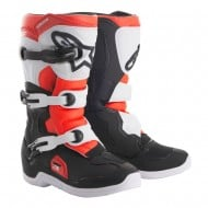 OFFER ALPINESTARS YOUTH TECH 3S BOOTS 2020 BLACK / WHITE / RED FLUOR COLOUR