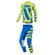 OFFER YOUTH COMBO ALPINESTARS RACER BRAAP 2019 COLOR BLUE / YELLOW FLUO