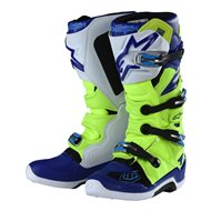 TROY LEE ALPINESTARS TECH 7 BOOTS 2019 COLOR RED FLUO / WHITE / BLUE