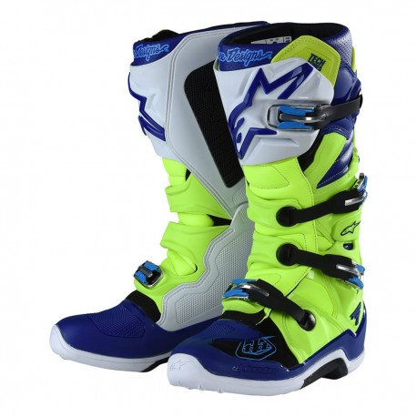 TROY LEE ALPINESTARS TECH 7 BOOTS 2019 COLOR RED FLUO   WHITE   BLUE ec044ab480cfe