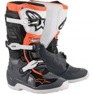 ALPINESTARS YOUTH TECH 7S BOOTS 2021 BLACK / GREY / WHITE / ORANGE FLUO COLOUR