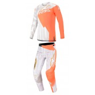 COMBO ALPINESTARS TECHSTAR FACTORY METAL 2020 COLOR BLANCO / NARANJA FLUOR / DORADO