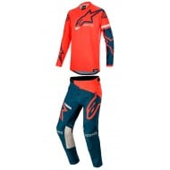 COMBO ALPINESTARS RACER TECH COMPASS 2020 COLOR ROJO BRILLANTE / AZUL MARINO