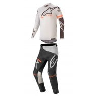 COMBO ALPINESTARS RACER TECH COMPASS 2020 COLOR GRIS CLARO / NEGRO