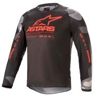 ALPINESTARS YOUTH RACER TACTICAL JERSEY 2021 COLOR CAMUFLAJE GRIS / ROJO FLUOR